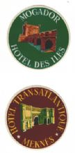 Hotel label luggage labels baggage MOROCCO. 2 different